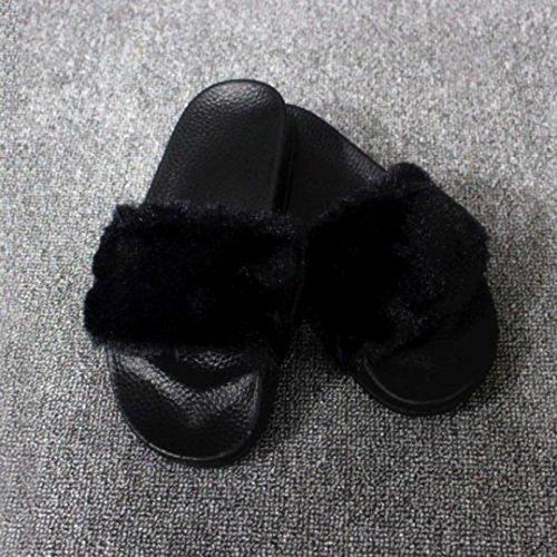 Byste Femme Chaussures Anti-slip Souple Fluffy Fausse Fourrure Flat Slipper Sandale D'hiver Noir