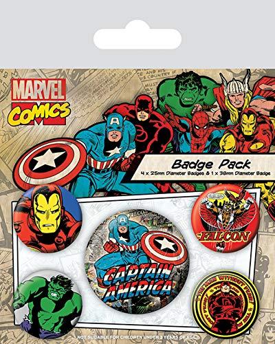 Pyramid International Marvel Retro Capitán América Badge, 10 x 12,5 x 1,3 cm