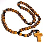 Holy Land Olive Wood Brown Beads Rosary Necklace with Olive Wood Cross Jerusalem
