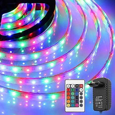 Tiras de barra LED 180 3M RGB resistente al agua, con fuente de alimentación y mando a distancia (SMD 3528, multicolor)