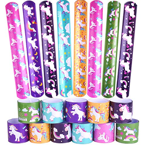 FEPITO 30 PCS Unicornio Bofetadas Pulseras para Niños, Cumpleaños Unicornio Tema Recuerdos Fiesta Bolsa Regalos Juego Rellenos Premios Recompensas en Clase para Estudiantes Chicas,6 diseños