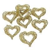 8 Drahtherzen gold 7cm x 7cm, dick, offen, Dekoherzen, Goldhochzeit / gold