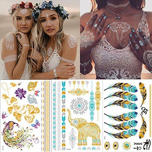 King snow tatuaggio impermeabile metallic temporanei tattoos, 10fogli 200motivi in metallo oro pellicola calde silberne tatuaggio adesivi impermeabile lungo di vendita tattoo adesivi flash temporanei tatuaggi adesivi dorata, progettato per viaggi, party, bar, natale, san valentino