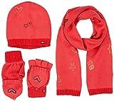 Tommy Hilfiger Damen Mütze, Schal & Handschuh-Set New Born Girl Poppy Giftpack, Rosa (Rapture Rose 625), One Size