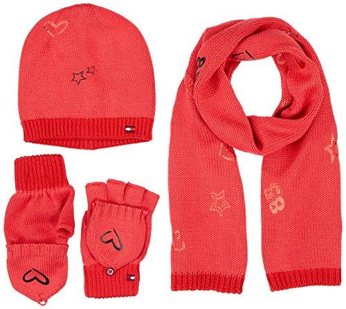 Tommy Hilfiger New Born Girl Poppy GIFTPACK conjunto bufanda, gorro y guantes, Rosa Rapture Rose 625...