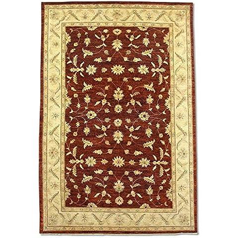 Agra rettangolare realizzato a mano, in lana, rosso scuro, 305