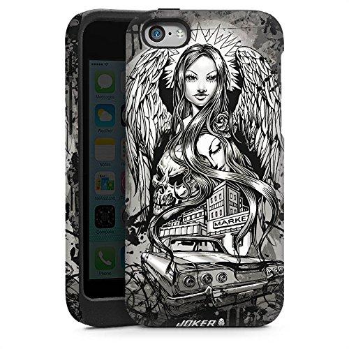 Apple iPhone 5 Housse Étui Silicone Coque Protection Joker - Lost Angel Ange Tête de mort Cas Tough brillant
