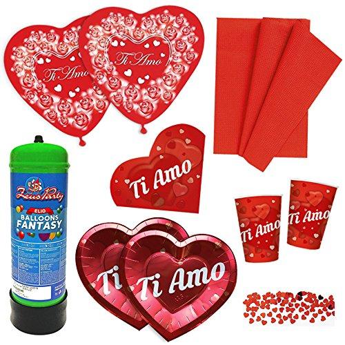 Kit n.4 coordinato san valentino + bombola elio e palloncini con tovaglia, piatti, tovaglioli, bicchieri, confetti cuore - anniversario matrimonio decorazioni ti amo love