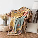 """World Map Sofa Towel Blanket-Judy DRE am Home Decorative Luxury Cotton Woven Throw Blanket Retro Tassels Tapestry Breathable Armchair Multi-Purpose Bed Blanket 51""""x71"""""""