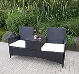 TPFGarden Gartenbank mit Ablage Vincent 153cm 2-sitzer aus Stahl + Polyrattan✔ | mit Integriertem Tisch✔ | mit Sitzkissen✔ | Farbton: Dunkelgrau✔