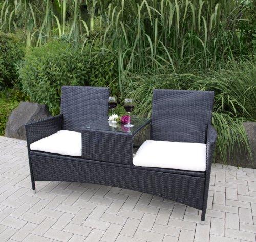 TPFGarden Gartenbank mit Ablage Vincent 153cm 2-sitzer aus Stahl + Polyrattan | mit Integriertem...