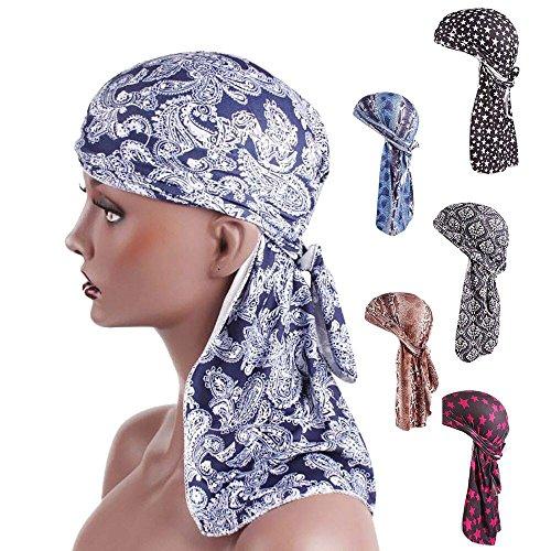 IYU_Dsgirh Femmes Unisexe Original imprimé Chapeau Inde Afrique Musulmane Stretch Turban Longue Queue Chapeau Imprimer tête écharpe Wrap