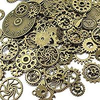 Lot d'environ 70 accessoires steampunk (100g) Chenkou Craft - Avec engrenages, breloques, montres, roues - Pour les loisirs créatifs et la confection de bijoux bronze