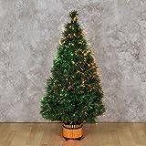 Albero Verde 120 cm, Fibre ottiche sfumate, Giochi di Luce Colorati, trasformatore 12V, Alberi di Natale Finti, alberelli Colorati