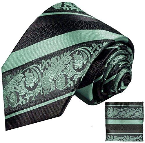 Paul Malone Krawatten Set 3tlg 100% Seide mintgrün schwarz barock gestreift (Schmale Krawatte...