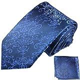 Paul Malone Seidenkrawatten Set 2tlg schmale 6cm Krawatte blau barock gestreift + Einstecktuch (Normallange 150cm)