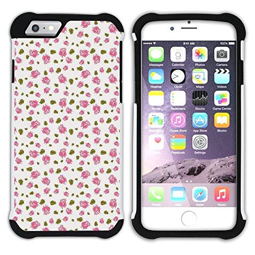 Graphic4You Blume Blumen- Muster (Schwarz) Hart + Weiche Kratzfeste Hülle Case Schale Tasche Schutzhülle für Apple iPhone 6 Plus / 6S Plus Design #10