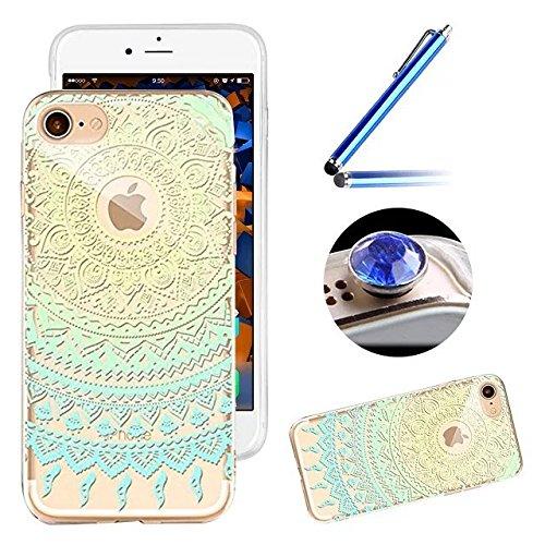 Etsue Glitzer Silikon Handy Hülle für iPhone 6S/iPhone 6 (4.7 Zoll), Sparkles Einzigartig Malerei Muster Funkeln Silikon Handytasche Ultradünnen Weiche Handyhülle Bling TPU Soft Case Silikon Zurück Hü Mandala Floral,Golden Blau#