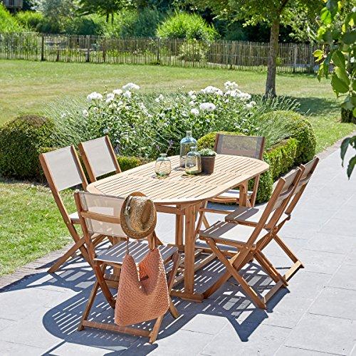 Salon de Jardin en Bois d'acacia FSC Extensible 6 à 8 Places