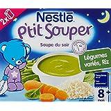 Nestlé Bébé P'tit Souper Soupe du soir Riz Légumes variés dès 8 mois 2 x 250 ml - Lot de 6 (12 briques)