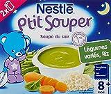 Nestlé Bébé P'tit Souper Légumes Variés Riz - Soupe du soir dès 8 Mois - 2 x 250ml - Lot de 6