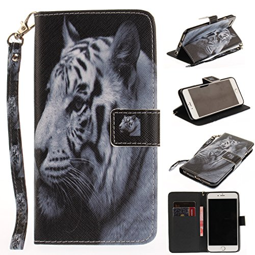 Custodia iPhone 6 Plus / 6S Plus Cover ,COZY HUT Flip Caso in Pelle Premium Portafoglio Custodia per iPhone 6 Plus / 6S Plus, Retro Animali di cartone animato Modello Design Con Cinturino da Polso Mag tigre bianca