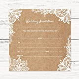 Wedding Postcard Invitations - Rustic Lace Pattern - Pack of 20