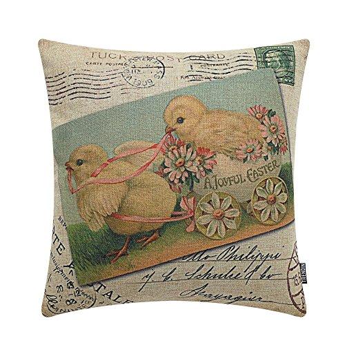 TRENDIN 45,7x 45,7cm Retro Happy Ostern Hühner mit Blumen Spring Birds Leinen Kissenbezug Kissen Fall Home Décor Shabby Chic 18X18 Pl104tr
