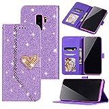 Nadoli Luxus Glitzer Liebe Herz Strass Spleißen Lanyard PU Leder Magnetverschluss Diamant Flip Brieftasche Handyhülle Etui Shell für Samsung Galaxy S9 Plus,Lila