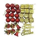 Tatis Zuhause Dekoration Christmas Balls Kugeln Party Baum Dekorationen Hängende Verzierung Dekor 32 Christbaumschmuck-Set (Rotgold)