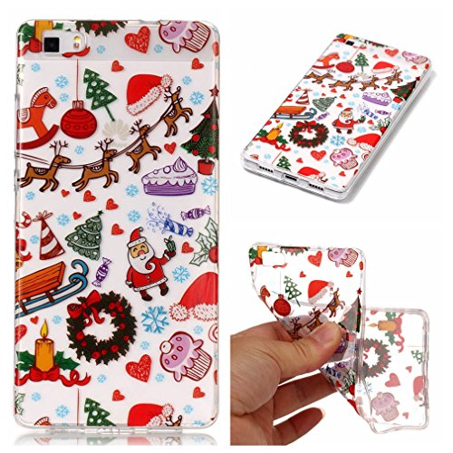 Funda Huawei P8 Lite, Huawei P8 Lite Funda Silicona Xmas, LTWS Merry Christmas Gift [Ultra-delgado] [Shock-Absorción] [Anti-Arañazos] [Transparente] TPU Silicona Case Cover Parachoques Carcasa Funda Bumper para Huawei P8 Lite -Christmas playground