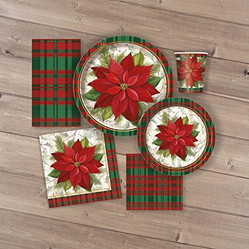 23cm Pascua de Navidad de tartán platos Fiesta, pack de 8