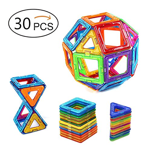 Magnetic Blocks Building, 30 Pcs Magnetic Toys for Kids Toddlers Boys and Adults Construction Stacking kits, Creative and Educational Building Blocks