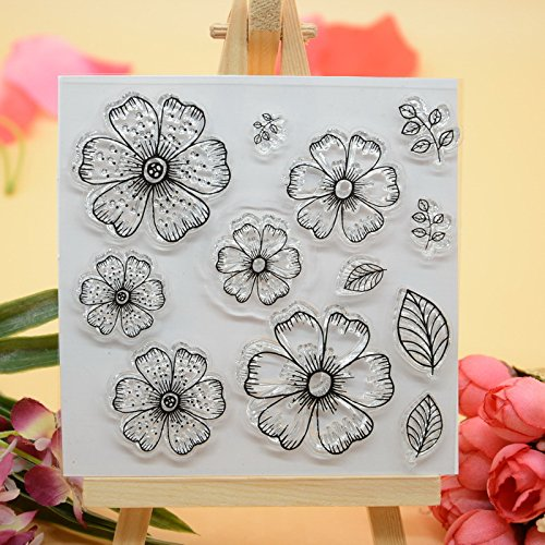 Joyful Home Flower DIY Rubber Clear Stamp for Card Making Decoration and Scrapbooking