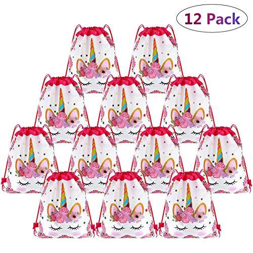 Happy Pig 12 Niños Party Bolsas, Regalo Bolsa de Cuerdas Dulces Backpack Bolsas Escolares para Niños Cumpleaños (Unicorn)