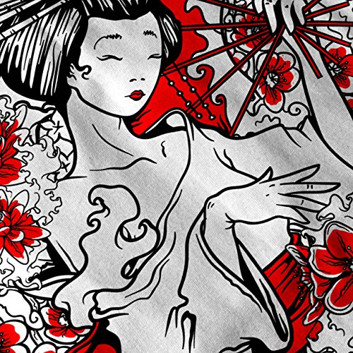 Geisha Blume Power Japan Dame Damen Schwarz S-2XL Muskelshirt | Wellcoda Weiß