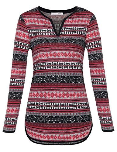 Messic Damen Tunika Freizeit Halbarm-Shirt mit Engem V-Ausschnitt Leger Geschnitten T-Shirt Bluse Tops Multicolor Rot