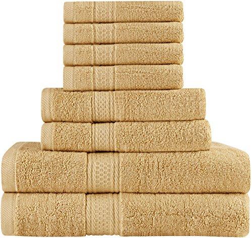 Utopia Towels Ensemble de Serviettes de Bain 8 pièces; 2 Serviettes de Bain, 2 essuie-Mains et 4 débarbouillettes - Coton - Qualité d'hôtel, Super Doux et très Absorba