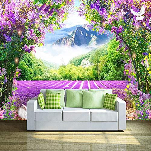 Worryd Hd Print Poster Picture Papiers peints photo 3D Fleurs de lavande en vigne voûtées Nature Paysage Peinture murale de style pastoral, 150x105 cm