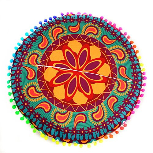 Kissen Runde Dekorative (fixuk 43,2cm rund Kissen Fall dekorative Colorful Pom Pom Trim Boho Kissen Cover, Polyester, 2#, Einheitsgröße)