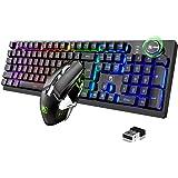 FELICON Mouse Wireless per Tastiera da Gioco, 4800mAh, 16 Tipi di Tastiera da Gioco Ricaricabile retroilluminata a LED RGB co