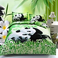 YXJ,4pcs Queen Size Duvet Cover Set,3d Cute Snuggled Pandas Bedding Set Comforters Duvet Cover Quilt Bed Linen Sheet Bedspread