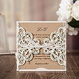 Jindowine Hochzeit Einladungen Karten Laser Cut weißes rustikal Quadrat Einladung mit Bogen Spitze Ärmel für Engagement Baby Bridal