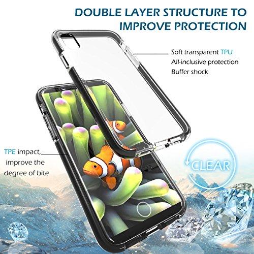 YockTec iphone 8 Cover - Custodia Protettiva High Quality Ultra -Sottile TPU + TPE il Doppio Strato di Protezione Completa Case Cover per iphone 8 smartphone (Nero) Nero