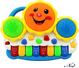 Negi Drum Keyboard Musical Toys with Flashing Lights - Animal Sounds and Songs