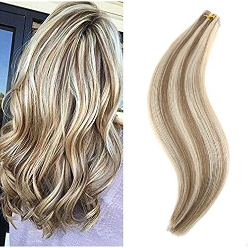 Ugeat 20 pollici due toni extension capelli veri adesive 50g 20pcs dritto capelli umani reali colore piano light brown to bleach blonde #10/613