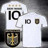 ElevenSports Deutschland Trikot mit GRATIS Wunschname + Nummer + Wappen Typ #D 2020 günstig im EM/WM Weiss - Geschenke für Kinder,Jungen,Baby. Fußball T-Shirt personalisiert