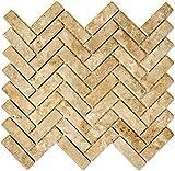 Mosaik Fliese Keramik Fischgrät Steinoptik beige für BODEN WAND BAD WC DUSCHE KÜCHE FLIESENSPIEGEL THEKENVERKLEIDUNG BADEWANNENVERKLEIDUNG Mosaikmatte Mosaikplatte