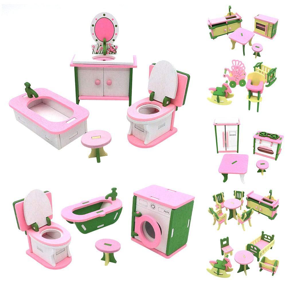 Mobili per casa di bambole Accessori per casa di bambole Bambole di legno  Tavolo da cucina per la cucina Kit di giocattoli per famiglie Miniatura ...