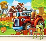 Vlies XXL-Poster Fototapete Tapete Kinder kleiner roter Traktor Material Vlies ohne Kleber, Größe 140 x 100 cm